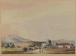Landscape showing the church, Poona. 1849 or 1850